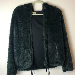 Vintage Army Green Fur Vest